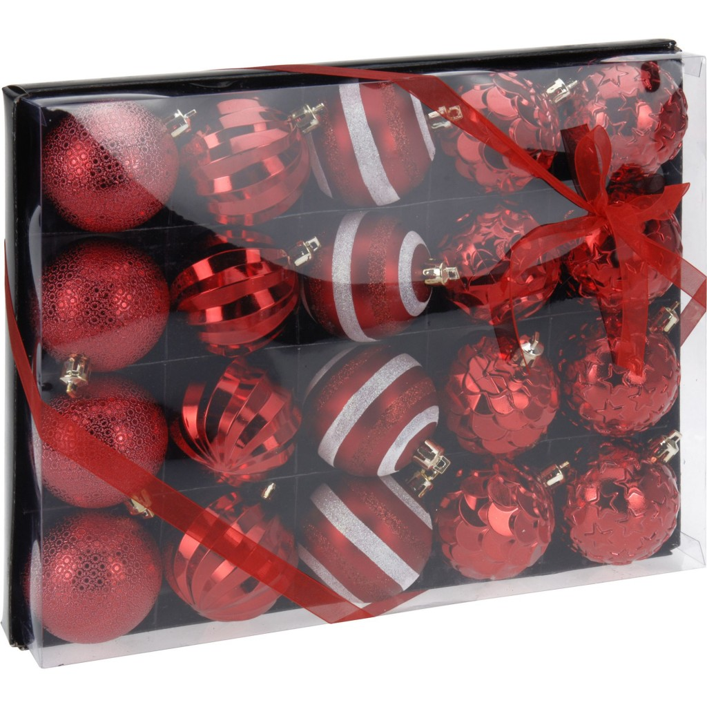 Set 20 de globuri rosii, 60 mm