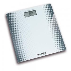 Cantar corporal INNOFIT INN-102, 180 kg, Design Slim, Platforma de sticla, Alb