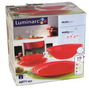 Serviciu de masa Luminarc Arty Red, 19 piese, Rosu